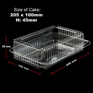10-300 Plastic Disposable Clear Boxes for Food Cake Size- 205 x 100 x 45mm - K40
