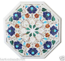 """12"""" Marble Coffee Center Table Top Lapis Marquetry Art Inlay Outdoor Decor H1764"""