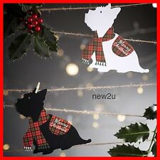 4 X Die-Cut Westie Scottie Dog Christmas Greeting Xmas Cards 2 Of Each Design
