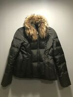 APT 9 Women's Down Fill Black Winter Puffer Jacket Large Real Fur Trim Ski Loft
