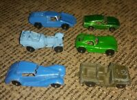 LOT OF 6 Rare Vintage Tootsietoy metal toy cars MADE IN THE USA Jeep Mercedes