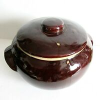 Vintage 2 Qt Brown Bean Pot with Lid Stoneware Crock marked USA FREE SH