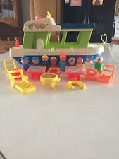 Vintage Fisher Price Little People House Boat And Accessories Lot Of 19