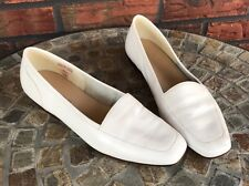 Enzo Angiolini White Leather Shoes Flats 7.5 N Slip On Loafers Ballet Made Italy