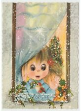 1977 Card Christmas Little Girl Window Bird Holly Decorations Tree
