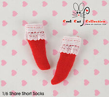 ☆╮Cool Cat╭☆【KS-A08】Blythe/Pullip(1/6 Doll) Lace Top Ankle Socks # Red