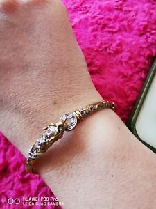 RARE VINTAGE 9CT RUBY AND DIAMOND FULLY HALLMARKED LEOPARD PANTHER BANGLE