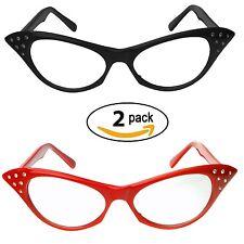 Red & Black Cat Eye Glasses Rhinestones  50's 60's Retro Cateye Glasses (2 Pack)