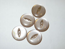 5 19mm Pale Pink/Purple Fisheye Pearlescent 2 Hole Vintage Buttons 1960-1980s