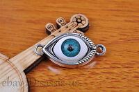 10pcs Charm 3D blue eye silver pendant Diy Jewelry Bracelet Tibet Silver 7133