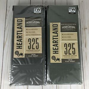 2X Heartland Homegrown 325-Thread Count Cotton Percale Twin Flat Sheet Gray
