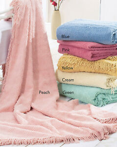 Traditional Style Candlewick Chatsworth 100% Cotton Chenille Bedspread Throw