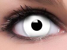 Lentille de Contact Couleur Blanc Zombie / White Out / Halloween / Crazy / 1 an