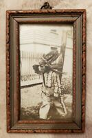"Framed Vintage Photograph Of Little Boy Dressed As A Native American. 3"" x 5""."