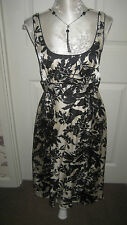 BNWT M&S AUTOGRAPH LOVELY BLACK & CREAM FLORAL SLEEVELESS OCCASION DRESS SIZE 10