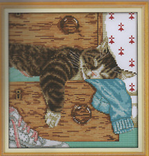 Counted Cross Stitch Kit, Lazy Cat In The Drawer