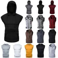 Mens Sleeveless Hoodie Sweatshirt Tank Tops Gym Fitness Sport Vest Activewear