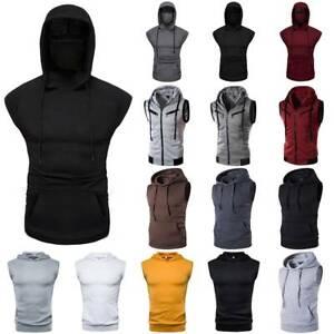 UK Mens Sleeveless Hoodie Camo Vest Jogging Sports Gym Fitness Zip Up Sweatshirt