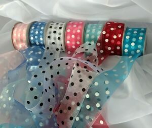 """Ribbons Organza Polka Dots 3 yards sections 1.5"""" wide. Shipping $3.50 others .10"""