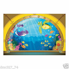 UNDER THE SEA Party Decoration Wall Mural SUBMARINE VIEW BACKDROP Photo Prop