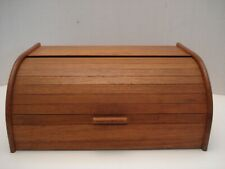 Vintage 1960`s 70`s Solid Teak Wood Tambour Roll Top Bread Box Thailand Breadbox