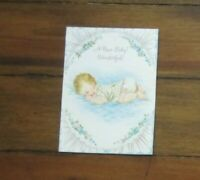 Vintage New Baby Card French Fold Mid Century Sleeping Baby Blue and Pink