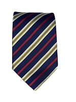 ermenegildo zegna navy blue red green striped silk tie made in italy 58x4