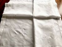 "VINTAGE HAND EMBROIDERED WHITEWORK LINEN "" Butterflies "" TABLECLOTH 45x45 INCHES"
