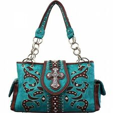 Turquoise and Brown Studded Cross Accented Western Style Purse