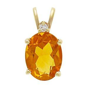 14k Yellow Gold Oval Citrine & Diamond Accent Solitaire Pendant
