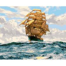 16''X20'' Sailing Ship Digital Acrylic DIY Oil Painting By Numbers Kits No Frame