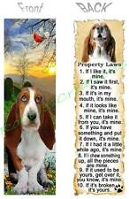 BASSET HOUND BOOKMARK DOG RULES Property LAWS Book Mark Card Ornament Figurine