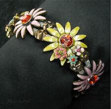 PILGRIM Bracelet Vintage Gold/Pink/Yellow Enamel Swarovski DAISY FLOWER BNWT