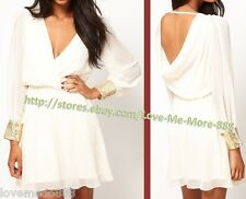 New Deep V Cut out  Draped back Sequins Cuff Long Sleeve Casual Dress WHITE xxl