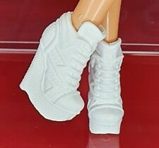 Barbie For Heels Feet Doll White Faux Laceup High Top Wedge Boots Shoes