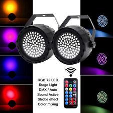 2PCS RGB 78 LED PAR Lights DMX DJ Party Club Strobe Disco Bar Stage Light Remote