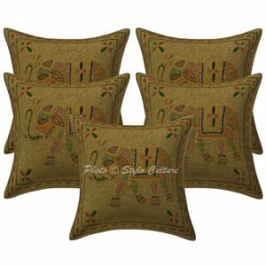 Cotton 40 cm Gold Embroidered Ethnic Pillow Case Covers Elephant Cushion Covers