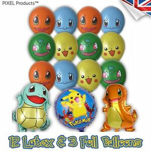 Pokemon Party Balloons Latex/Foil (15 Pack) - fillers, favours, supplies, Loot