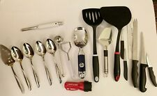 2 Spatulas, 3 Paring Knives, Bread Knife, Filet Knife,4 TwinStar Server Spoons+