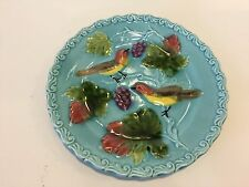 "Antique G.S. Zell German Majolica Bird and Berry Pattern Plate, 6 1/2"" Diameter"