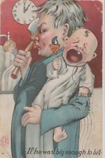 """Postcard HL Robbins 1905 Father Holding Baby & Hatchet """"If Big Enough To Hit"""""""