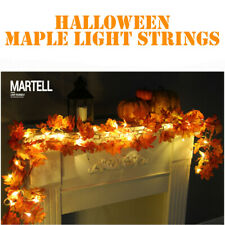 1.7M LED Lighted Fall Autumn Pumpkin Maple Leaves String Garland Halloween Decor