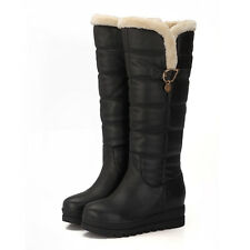 Womens Mid Heel Platform Knee High Boot Fur Winter Snow Waterproof Shoes Plus