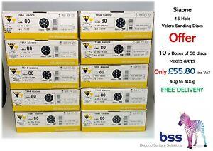 Siaone. 10 Boxes. Mixed Grit. Velcro Sanding Discs ONLY £55.80 incl. VAT & DEL