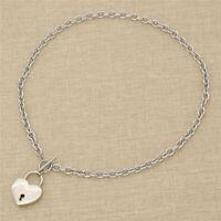 Fashion Heart Design Lock Lockable Necklace Stainless Steel Chain Collar Choker