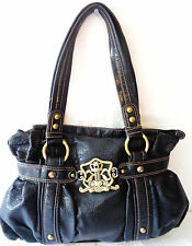 KATHY VAN ZEELAND Thick Black Textured Vegan Leather Shoulder Bag