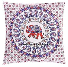 Indian Paisley Elephant Mandala Pillow Case Cotton Handmade Decor Cushion Cover