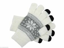 Ladies Mens Cream Fairisle Touch Screen Smart Knitted Gloves Winter Warm Adults