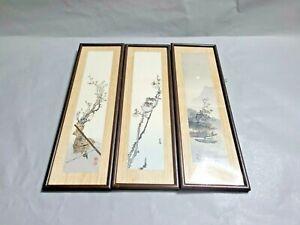 Vintage 1961 Woodblock Japan Framed Art  Set of 3