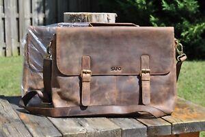 """(2) Quality Leather Messenger Shoulder Bag Satchel 16"""" Laptop Crossbody Brown"""